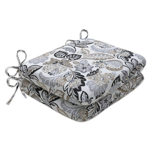 """2pc 18.5"""" x 15.5"""" Outdoor/Indoor Rounded Chair Pad Dailey Pewter Black - Pillow Perfect - image 1 of 1"""