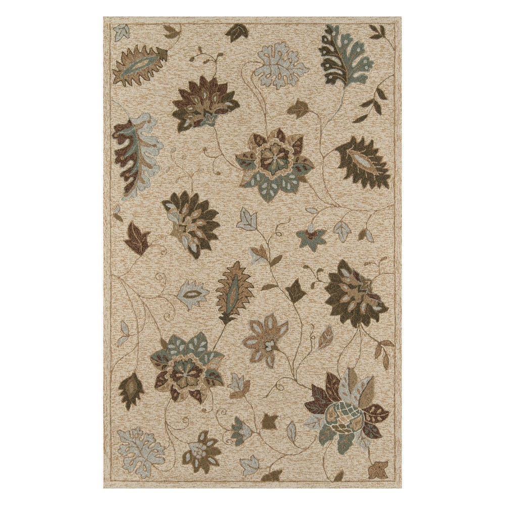 8'X10' Floral Hooked Area Rug Sand - Momeni, White