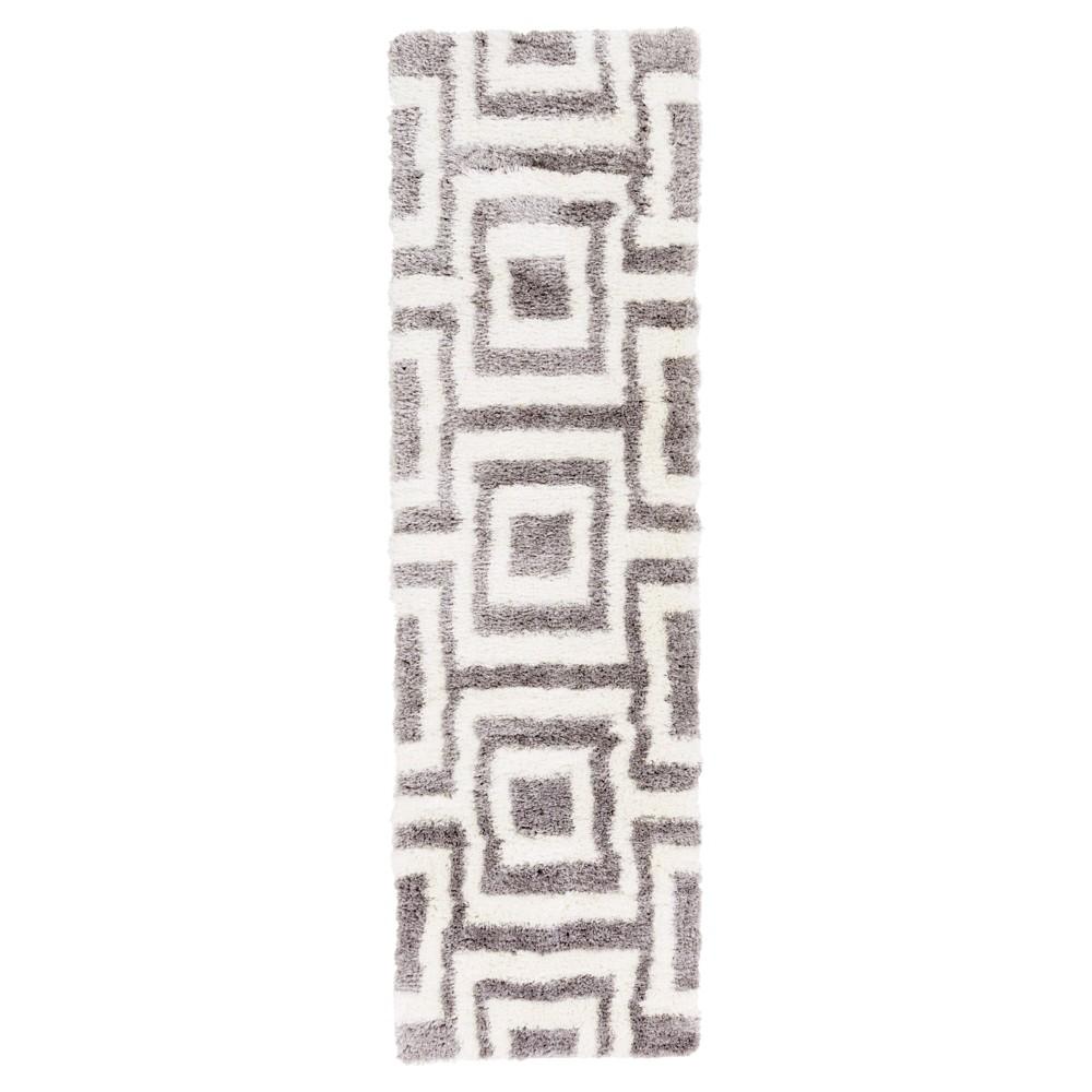 White Abstract Tufted Runner - (2'3X8' Runner) - Surya, Medium Gray