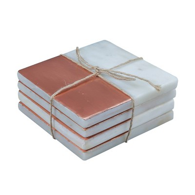 4pk Marble Copper Plated Coasters - Thirstystone