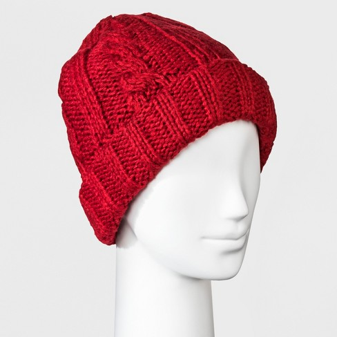 Women s Cable Fleece Lining Knit Beanie - Universal Thread™ Red   Target 3a2be8cdfa5d