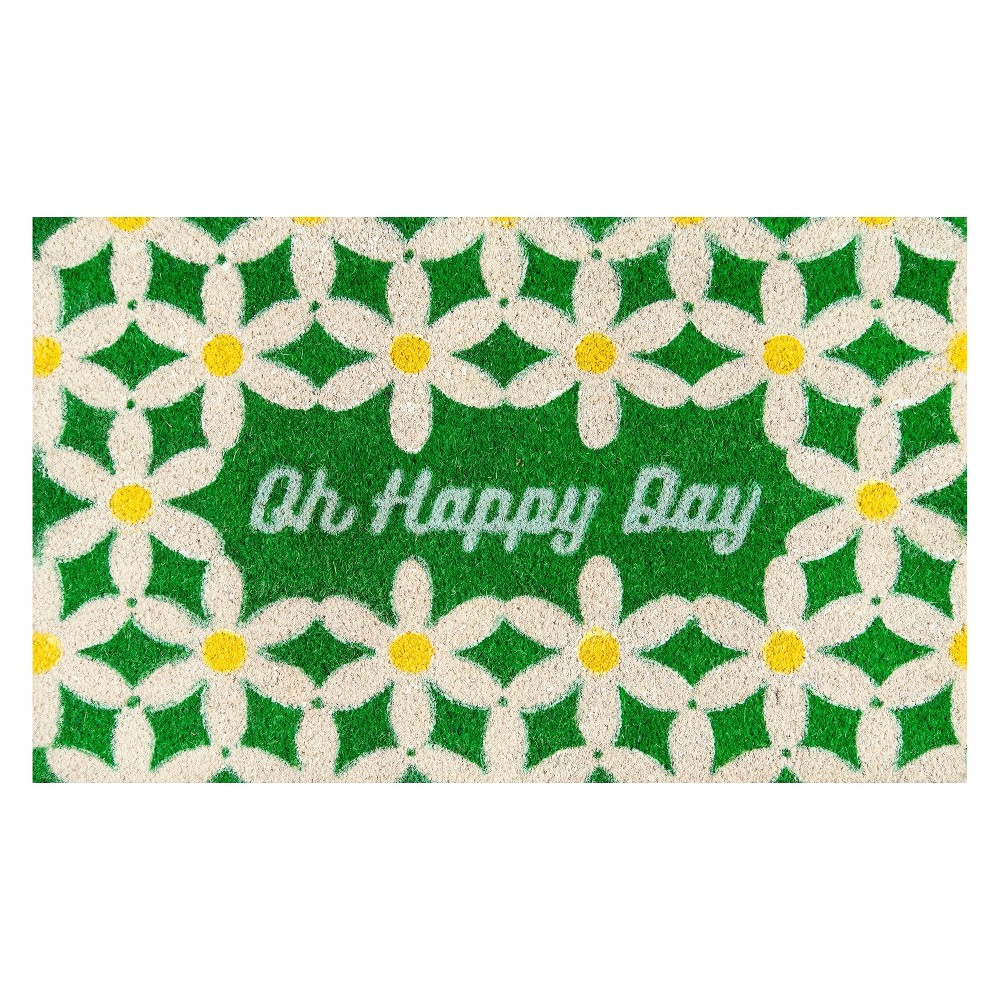 Quote Woven Door Mat Green