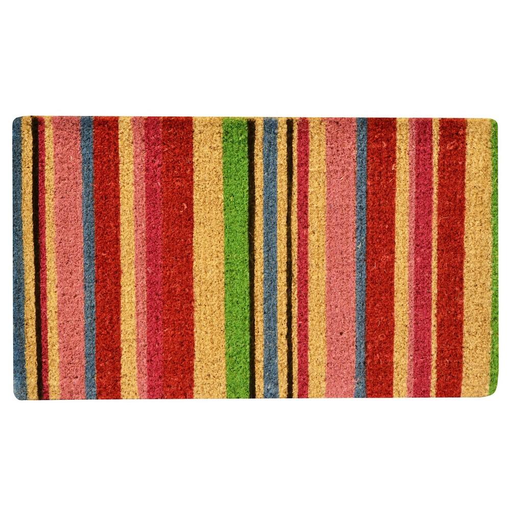 "Image of ""HomeTrax Coir Mat Doormat - Stripes (18"""" x 30"""")"""