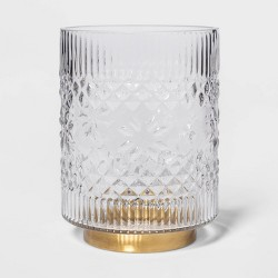 Fair Isle Glass Hurricane Pillar Candle Holder Clear/Gold - Threshold™
