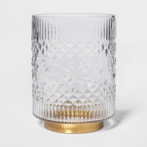 "8"" x 6"" Fair Isle Glass Hurricane Candle Holder Clear/Gold - Threshold™ - image 1 of 4"