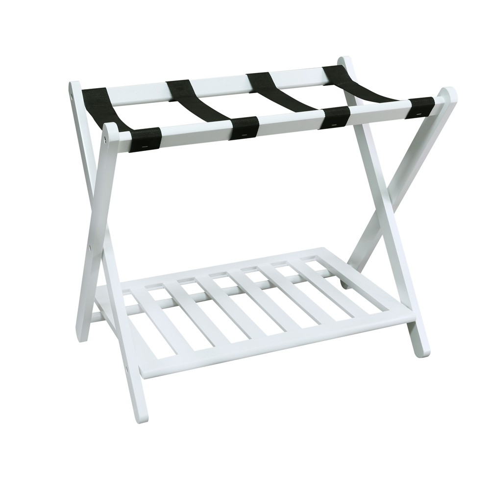 Image of Luggage Rack with Shelf White - Flora Home