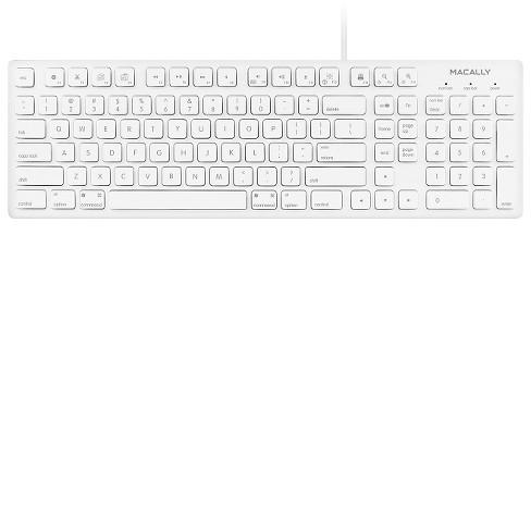 Macally Full Size USB Wired Keyboard for MAC & PC - White (MKEYE)
