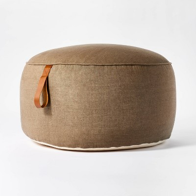 Ogden Pouf with Leather Loop Handle Beige - Threshold™ designed with Studio McGee
