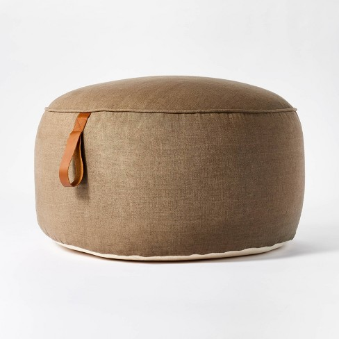 Pouf with Leather Loop Handle - Threshold™ designed with Studio McGee - image 1 of 4