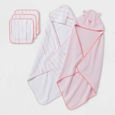 Baby Girls' Bear Towel and Washcloth Set - Cloud Island™ Pink One Size