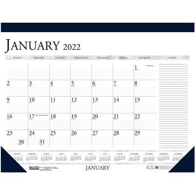 "House of Doolittle 2022 13"" x 18.5"" Desk Pad Calendar Classic Deep Blue/White 1646-22"