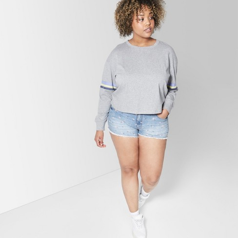 69b65c15de2b Women's Plus Size Floral Print High-Rise Cutoff Jean Shorts - Wild Fable™  Blue