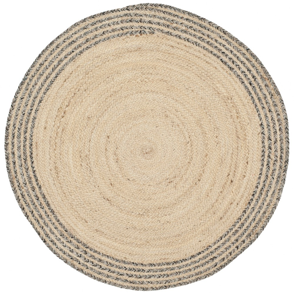 3 Solid Woven Round Accent Rug Ivory Steel Safavieh