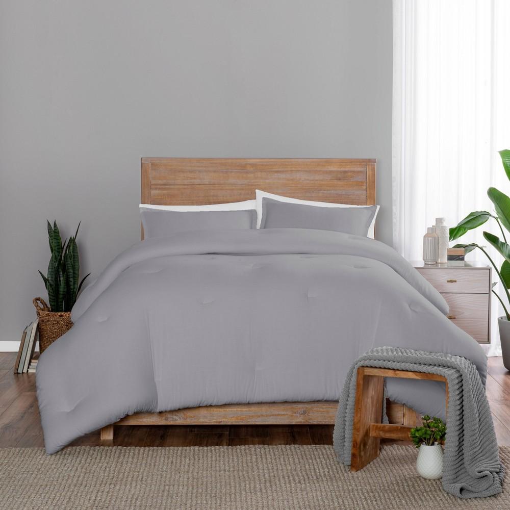 Full Queen 3pc Lark Comforter Set Gray Vue