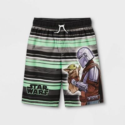 Boys' Striped Baby Yoda Swim Trunks - Black