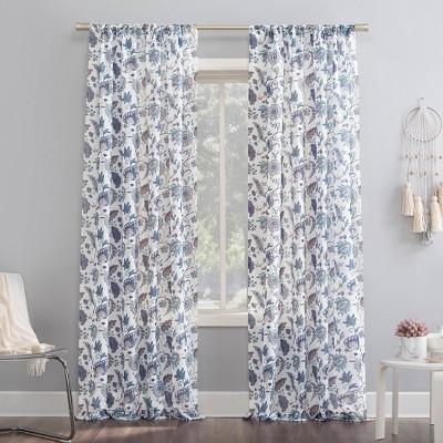 Sarita Floral Print Sheer Rod Pocket Curtain Panel - No. 918
