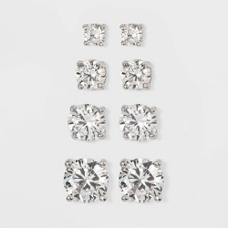 Cubic Zirconia Stearling Silver Boxed Quad Earring Set - A New Day™ Silver