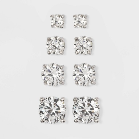Cubic Zirconia Stearling Silver Boxed Quad Earring Set - A New Day™ Silver - image 1 of 2