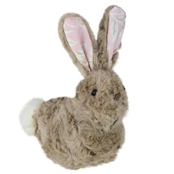"""Northlight 6"""" Plush Floral Eared Easter Rabbit Spring Figure - Brown/Pink"""