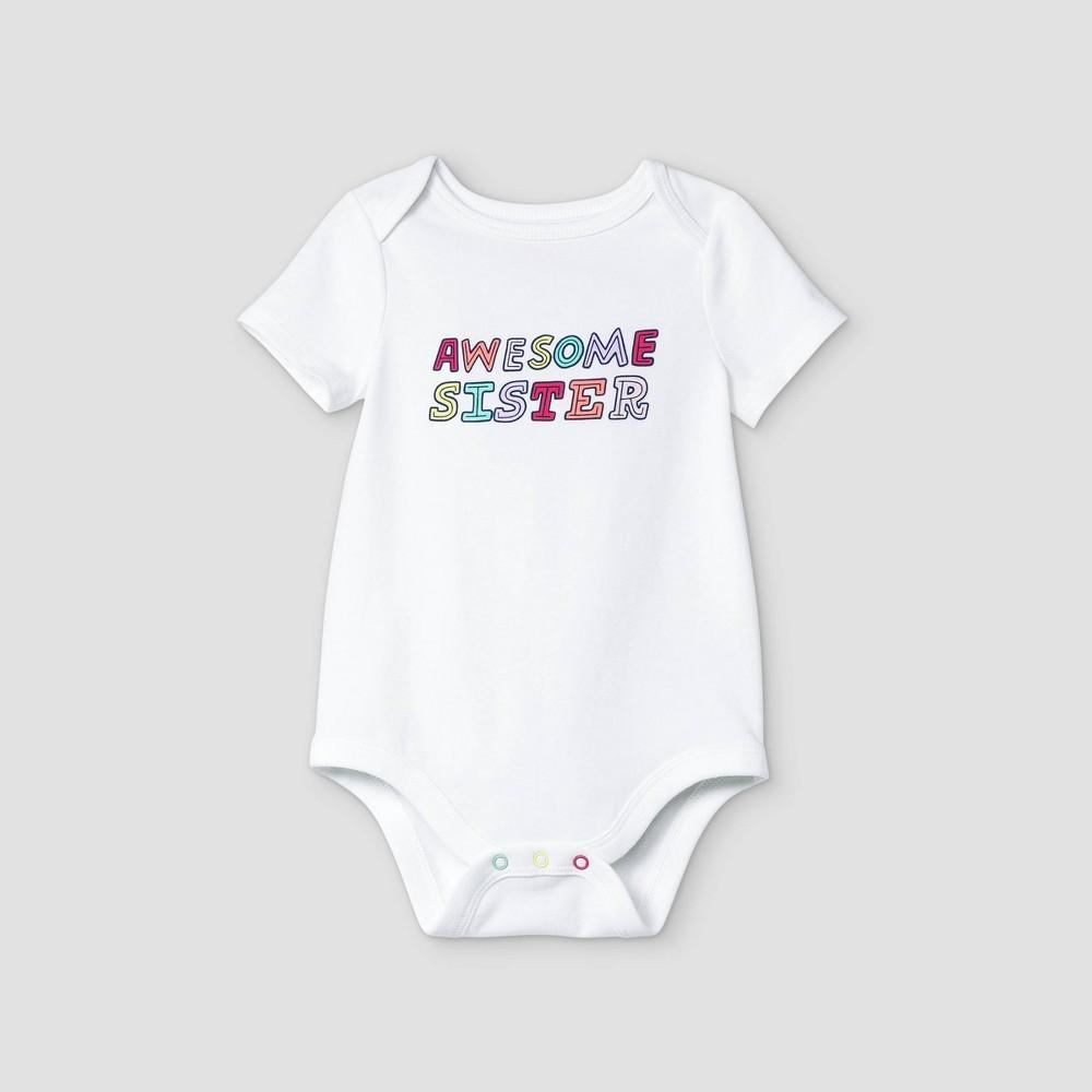 Baby Girls 39 39 Awesome Sister 39 Short Sleeve Bodysuit Cat 38 Jack 8482 White 12m