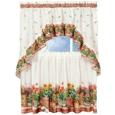 GoodGram Country Garden Complete Kitchen Curtain Tier and Swag Set