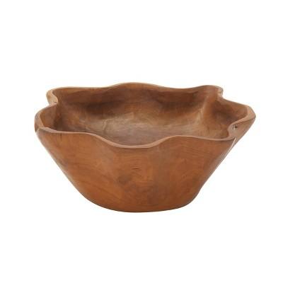 """6"""" x 14"""" Natural Brown Teak Wood Bowl Brown - Olivia & May"""