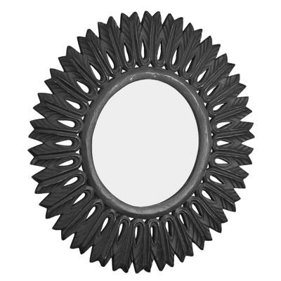 Hand Carved Wood Medallion Sunburst Accent Mirror Black - Crystal Art Gallery