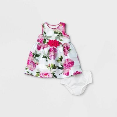 Mia & Mimi Baby Girls' Window Pane Floral Dress