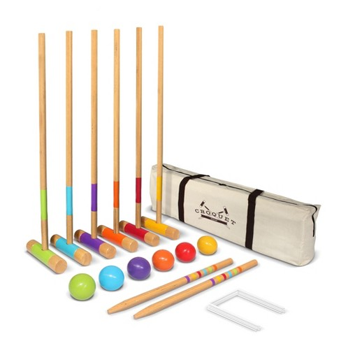 GoSports Standard Size Backyard Outdoor Lawn Kid and Adult Croquet Game Set for 6 Players with 35 Inch Mallet Handles & Portable Travel Carry Case - image 1 of 4