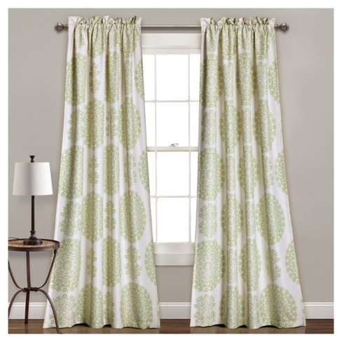 "Evelyn Medallion Room Darkening Window Curtain Set (84""x52"") - Lush Décor - image 1 of 1"