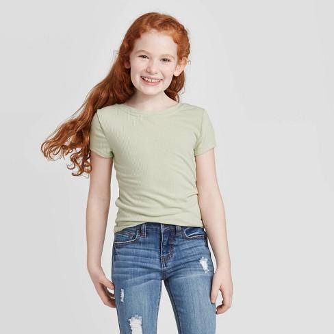 Girls' Short Sleeve Ribbed T-Shirt - art class™ Sage - image 1 of 3