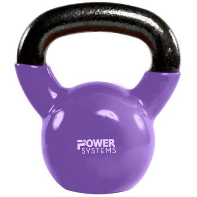 Power Systems Premium Vinyl Covered Cast Iron Kettlebell Prime Home Gym Exercise Weight Training Accessory, 15 Pounds, Purple