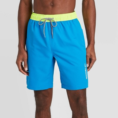 "Speedo Men's 9"" Marina Swim Shorts - Blue/Yellow"