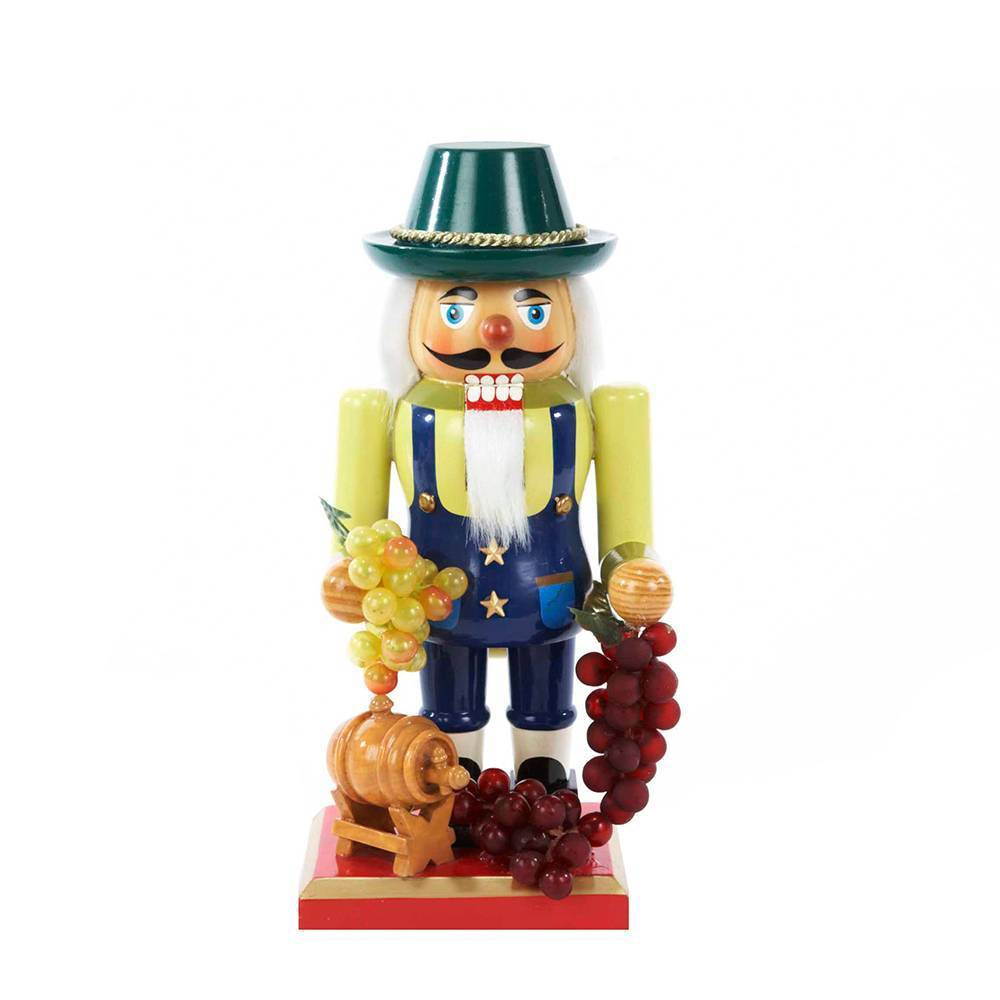 "Image of ""10.25"""" Kurt Adler Wooden Winemaker Nutcracker Decorative Sculpture"""