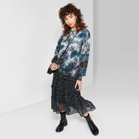 Women's Long Sleeve Crewneck Relaxed Tie Dye T-Shirt - Wild Fable™ Teal - image 1 of 3
