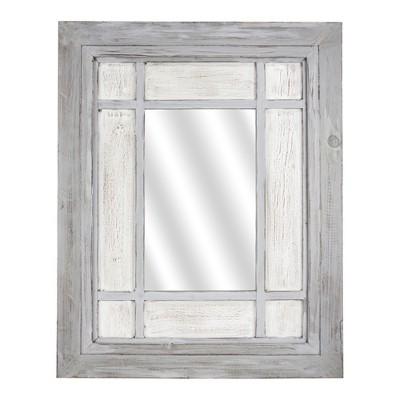 "24"" x 30"" Rustic Wood Window Pane Hanging Vanity Wall Mirror Gray - American Art Decor"