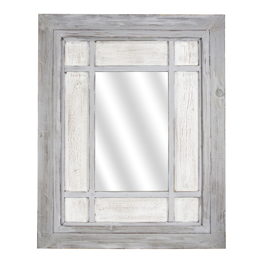 Image of Wood Wall Mirror White - E2 Concepts