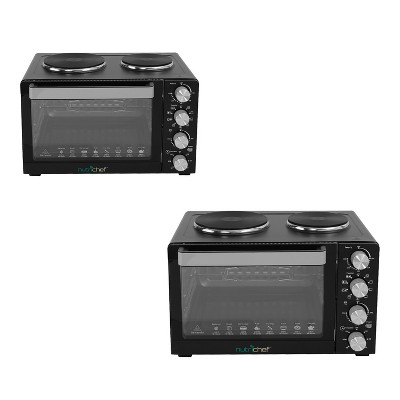 NutriChef Kitchen Countertop Multi-function Convection Rotisserie Toaster Oven Cooker w/ 2 Food Warming Hot Plates, Grill Rack, & Baking Tray (2 Pack)