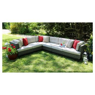 Camilla 4pc All-Weather Wicker Patio Sectional Seating Set - Tan - AE Outdoor