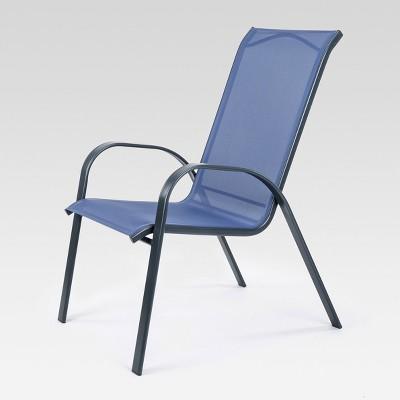 stacking sling patio dining chair dark blue threshold target rh target com