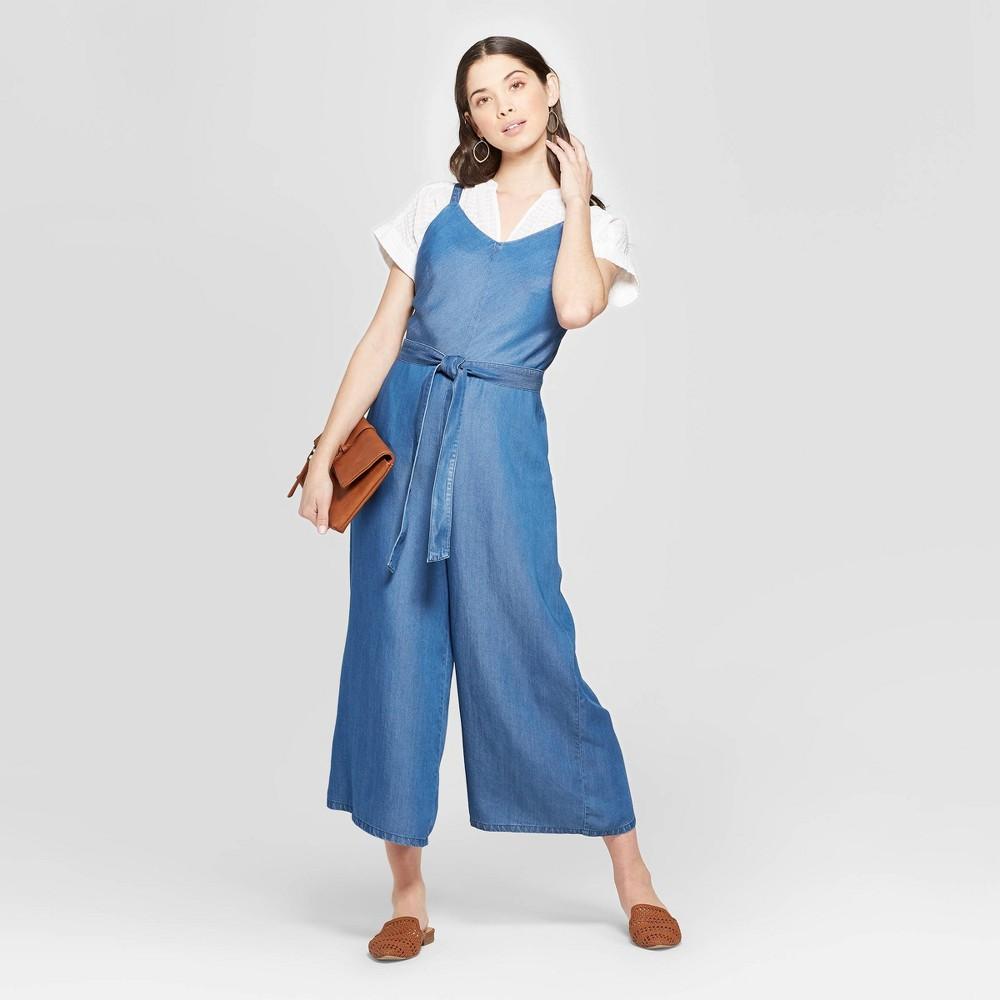 Women's Sleeveless V-Neck Denim Wide Leg Jumpsuit - Universal Thread Blue S