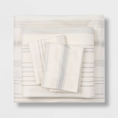 Queen Printed Pattern Fall Flannel Sheet Set Gray Stripe - Threshold™
