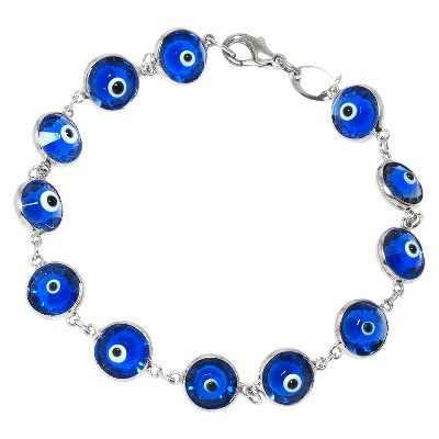 Women's Silver Plated Glass Guardian Eye Bracelet - Blue/Silver