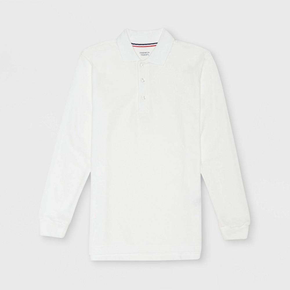 Image of French Toast Boys' Long Sleeve Pique Uniform Polo Shirt - White XXL, Boy's