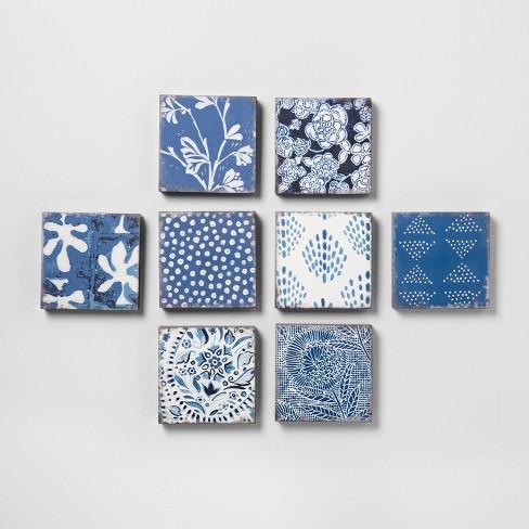 Mixed Pattern 8pk Wall Decor Set Blue