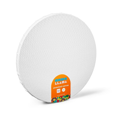 "10"" Round Stretched Canvas White - Mondo Llama™"
