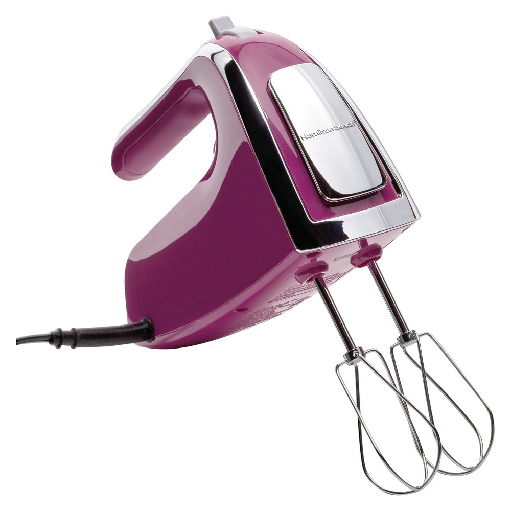 Image of Hamilton Beach 6 Speed Open Handle Hand Mixer with Case - Raspberry 62621, Raspberry Purple
