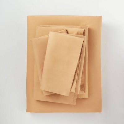 California King Washed Supima Percale Solid Sheet Set Honey - Casaluna™