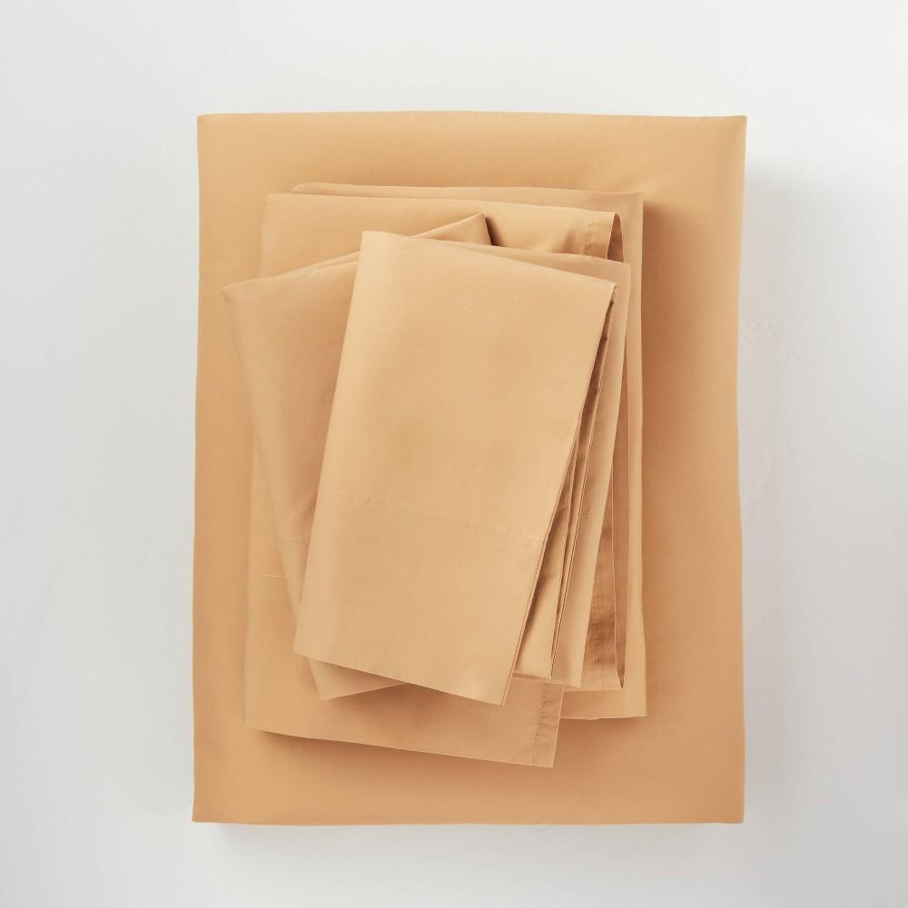 Full Washed Supima Percale Solid Sheet Set Honey Casaluna 8482