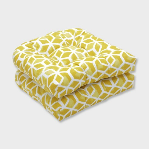2pk Celtic Pineapple Wicker Outdoor Seat Cushions Yellow - Pillow Perfect - image 1 of 1